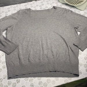 Large Cropped Long Sleeve Gray Sweater